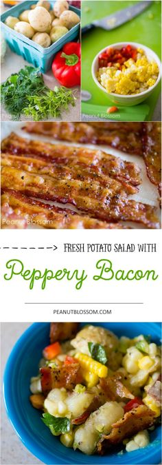 Fresh potato salad with farmer's market vegetables and hot peppery bacon. No mayo! This olive oil and vinegar dressing is perfect for picnic potlucks and has a sweet and juicy bite with the corn and fresh peppers.