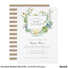 Succulent Garden | Floral Watercolor Baby Shower Invite | #babyshower #succulent #watercolor elegant formal chic cute #babygirl