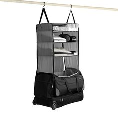 Luggage Shelves for the Weekend getaway! Rise Gear features simple shelving that makes it simple to organized on your Vacation. Mobile Closet! Grey!