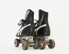 Meet You at the Rink - Vintage Roller Skates - Antique - Black - White - Leather - Home Decor - Kids on Etsy, $68.00