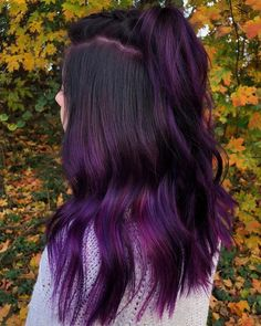 Blue hair and purple pastel hair color is totally in right now, check out our celeb inspo and how to info for getting the trend right with your mane. Purple Hair Highlights, Hair Color Streaks, Hair Color Purple, Hair Color For Black Hair, Purple Black Hair, Purple Peekaboo Hair, Exotic Hair Color, Violet Hair Colors, Purple Balayage