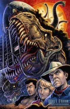 Jurassic Park Anniversary print by KaijuSamurai on DeviantArt Jurassic Park Trilogy, Jurassic Park Poster, Jurassic Park 1993, Jurassic Park World, Michael Crichton, Jurrassic Park, Park Art, Dinosaur Drawing, Dinosaur Art