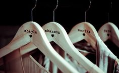 Bridesmaid gift - personalized hangers.
