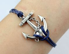 Jewelry Bracelet Silvery Anchor Bracelet Navy Blue by handworld, $1.59