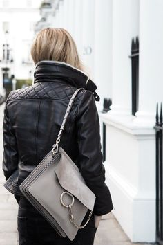 Neutral minimal style Karen Millen Jacket with Dove Grey Shearling and a Chloe Faye bag Chloe Bag, Faye Bag, Chloe Handbags, Leather Handbags, Look Fashion, Fashion Bags, Net Fashion, Rocker Fashion, Fashion Week