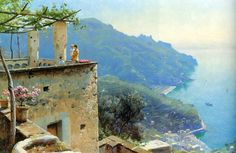 Peder Mork Monsted (1859-1941)-'the Ravello coastline'-oil on canvas-1926 Private-collection