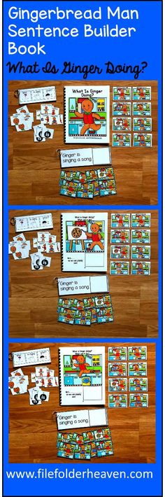 """This Gingerbread Man Sentence Builder Book, """"What Is Ginger Doing?"""" focuses on identifying action words, building sentences, and sentence comprehension. In a small group, the teacher or therapist reads the story as students follow along and match the correct action to each page."""