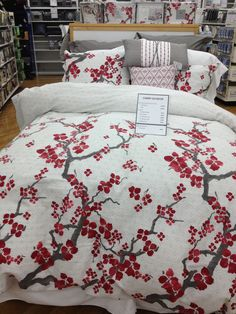 So in love... Cherry Blossom Duvet/Comforter Set by N Natori in white, red & grey as seen here at Bed Bath & Beyond.