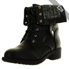 Refresh Womens Dason-03 Cuff Military Low Heel Lace Up Mid-Calf Riding Combat Boot Black 8