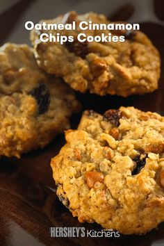 Get creative with Oatmeal Cinnamon Chips Cookies! This easy recipe adds HERSHEY'S Kitchens Cinnamon Chips to your oatmeal cookie for a sweet treat the whole family will love. It's a classic comfort you can bake all winter long. Bake them in a pan to make oatmeal cinnamon bars!