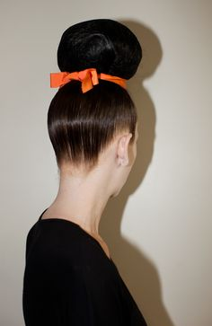 Girl with a big up do hair bun & orange ribbon Chignon Bun, Ponytail, Sleek Hairstyles, Pretty Hairstyles, Runway Hair, Great Hair, Amazing Hair, Natural Hair Styles, Long Hair Styles