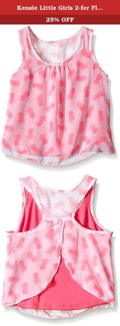 Kensie Little Girls 2-fer Flyaway Back Tank Top, Fuchsia, 5/6. Printed chiffon and solid interlock 2-fer racer back tank top.