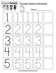 Tracing Worksheets, Number Worksheets Kindergarten, Fun Worksheets For Kids, Preschool Writing, Numbers Preschool, Preschool Learning, Pre Kindergarten, Kids Numbers, Addition Worksheets