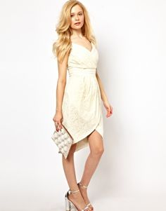 Love this Lydia Bright tulip dress with lace detailing in cream, perfect to wear as a guest to a wedding or to change into later for a going away outfit. Just beautiful! Asos Bridesmaid, Bridesmaid Dresses, Wedding Dresses, Bridesmaids, Chic Dress, Lace Dress, Chitenge Dresses, Latest Fashion Clothes, Fashion Dresses