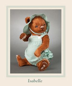 "Isabelle  This adorable little redhead named ""Isabelle"" is the fifth issue in the new ""Toddler Bears"" series of cubs dressed in vintage-style children's clothing.  Made entirely of the finest custom-made auburn colored mohair plush with airbrush shading, Isabelle measures 10 1/2 inches tall. She is fully jointed and features a molded felt nose, inset hazel colored glass pupil eyes, and detailed felt paw pads with inserted claws. #RJWDolls #RJohnWrightDolls #CollectibleDolls"