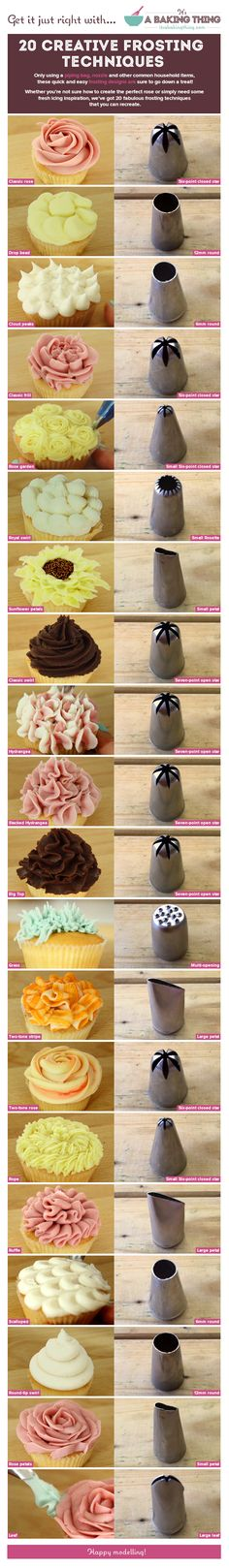 cupcake frosting tips Frostingdeko fr Cupcakes Icing Tips, Frosting Tips, Frosting Recipes, Cupcake Recipes, Cupcake Cakes, Dessert Recipes, Baking Cupcakes, Cupcake Piping, Fondant Cakes