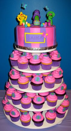 Barney & Friends Cake & Cupcake Tower by Ode to Inspiration, via Flickr