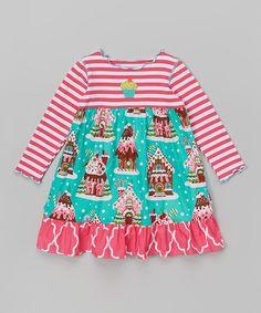 Look at this #zulilyfind! Pink & Teal Gingerbread Dress - Toddler & Girls by Mis-Tee-V-Us #zulilyfinds