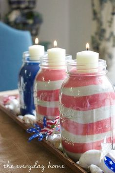 july 4th flag mason jars, mason jars