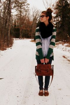 navy target jeans, black tulle scarf, light blue vintage blouse, green and gray cardigan, messy bun, glasses, brief case, fall and winter fashion