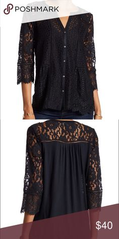NWT Lucky Brand Black Lace Blouse A fun a flirty blouse that you can dress up or down! It is new with tags. Never worn Lucky Brand Tops Blouses
