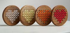 Wood & Cross Stitch Heart by woodandfeatherstudio on Etsy Cross Stitching, Cross Stitch Embroidery, Cross Stitch Patterns, Cross Stitch Heart, Modern Cross Stitch, Wooden Jewelry, Wooden Necklace, Craft Stalls, Holiday Crochet