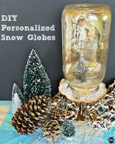 #DIY Personalized Mason Jar Snow Globes w/ #Christmas Cards- Great #Gift Idea! | http://sliceofsouthernpie.com