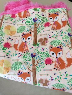 Fox Baby Blanket, Woodland Nursery, Baby Girl Blanket, Pink Minky Blanket, Foxes, Baby Shower Gift, Modern, Fox Baby, nursery blanket on Etsy, $36.00