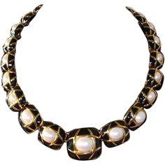 Classic Elegance Napier Black Enamel, Goldtone, and Imitation Pearl Necklace, 1980s