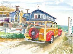 Steve Santmyer - Salt Creek Surfer, California art, original California watercolor art for sale, fine art print for sale, giclee watercolor print - CaliforniaWatercolor.com