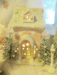 SHABBY CHIC & VICTORIAN CHRISTMAS IDEAS | ... roses Shabby Sugared chic LIGHTED CHRISTMAS VILLAGE 7pc VictoriaN OOAK