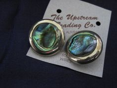 Round Silver Plated Abalone Clip Earrings