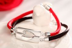Matching Couples Jewelry, Sterling Silver + Black / Red Cotton Rope + CZ Diamonds, Love Gifts for Girlfriend @ iDream-Jewelry.Com