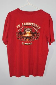 HARLEY DAVIDSON Mens Unisex Tee T SHIRT RED Large Ft Lauderdale Florida #HarleyDavidson #GraphicTee