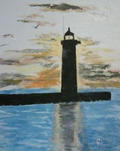 """North Pier Lighthouse at Sunrise""  11 x 14 acrylic on canvas panel.  Inspired by a photo taken by Sheryl Kjelland Clark."