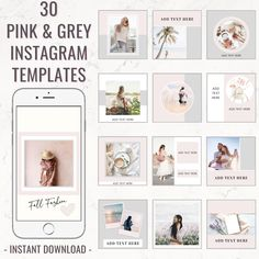 Business Instagram Posts | Instagram for small biz | Instagram Post Templates - Pink Theme, Instagram Posts, Instagram Branding Bundle, Social Media Templates, Canva Templates, Feminine Instagram Templates, social media marketing, social media tips #pink #grey #instagramtemplates #instagram #instagramposts #igposttemplates #templatesinstagram #instagrambundle #instagramfeed