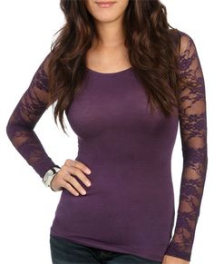 $10.50 Lace Long Sleeve Top from WetSeal.com
