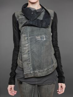 RICK OWENS DRK SHDW - - BIKER JACKET IN DENIM WITH LEATHER SLEEVES AND DOUBLE BUTTON FASTENING POSSIBILITY