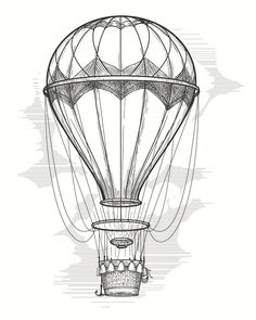 retro hot air balloon sketch by vectortatu retro hand drawing hot air balloon