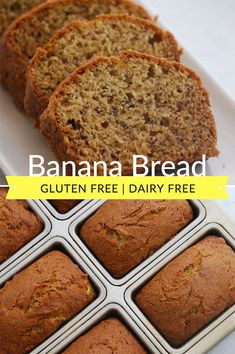 Amazing Gluten Free Banana Bread - super moist and dairy free too! Perfect for breakfast and lunch boxes. This recipe is gluten free, dairy free and both peanut and tree nut free. It makes 6 mini loaves or one standard sized loaf of banana bread. Gluten Free Bakery, Gluten Free Desserts, Dairy Free Recipes, Gluten Free Bread Recipe Easy, Sin Gluten, Sem Gluten Sem Lactose, Celiac Recipes, Snack Recipes, Celiac Food