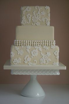 Champagne and ivory lace cake by Cotton and Crumbs, via Flickr