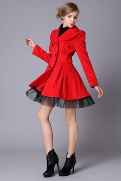 Aliexpress.com : Buy Free Shipping 2013 Red Black White Wool Dress Coats Women Double Breasted Peacoat Elegant Swing Ladies Winter Clothing WC071 from Reliable clothing girl suppliers on Dede Apparel Co,.Ltd. | Alibaba Group