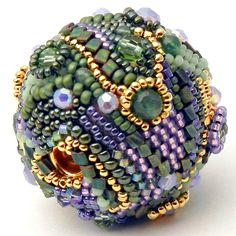 Beaded Bead Focal-  freeform peyote stitch one of a kind art bead -  purple green gold.