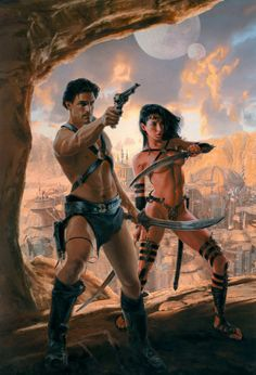 """Mike Resnick has posted the table of contents for his upcoming anthology (co-edited with Robert T. Garcia), The Worlds Of Edgar Rice Burroughs, coming this October from Baen Books: """"Tarzan an… Sci Fi Books, Comic Books Art, Science Fiction Art, Pulp Fiction, A Princess Of Mars, John Carter Of Mars, Sword And Sorcery, Fantasy Illustration, Sci Fi Fantasy"""