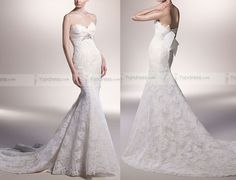 Gorgeous Mermaid Strapless Sweetheart-neck Alencon Lace Chapel Trailing Wedding Gowns