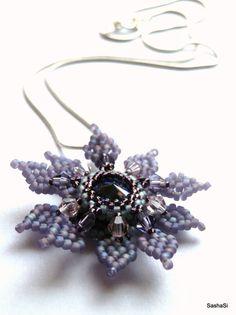 The Northern Flower Beaded Pendant Swarovski Rivoli by SashaSi, $40.00