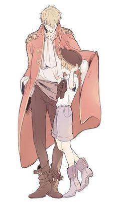 Hetalia: Axis Powers ♡ (ヘタリア) Pirate England and little America Rin Okumura, Anime Guys, Manga Anime, Gintama, Hetalia England, Hetalia America, Anime Family, Anime Lindo, Hetalia Axis Powers