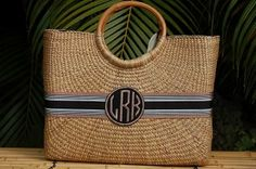 Monogrammed Large Becky Basket Handbag--the perfect touch to your warm-weather party outfit! Monogram Tote Bags, Monogram Gifts, Personalized Gifts, Black Dress Accessories, Travel Accessories, Shopping Totes, Straw Handbags, Weekender Tote, Large Bags