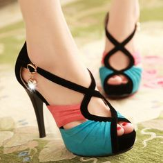 Summer Fashion Contrast Color Crossed Lines Women's Peep Toe Sandals