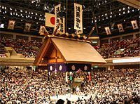 """Ryōgoku Kokugikan in Tokyo """"is mainly used for sumo wrestling tournaments (honbasho) and hosts the hatsu (new year) basho in January, the natsu (summer) basho in May, and the aki (autumn) basho in September. It also houses a museum about sumo."""" -wikipedia"""